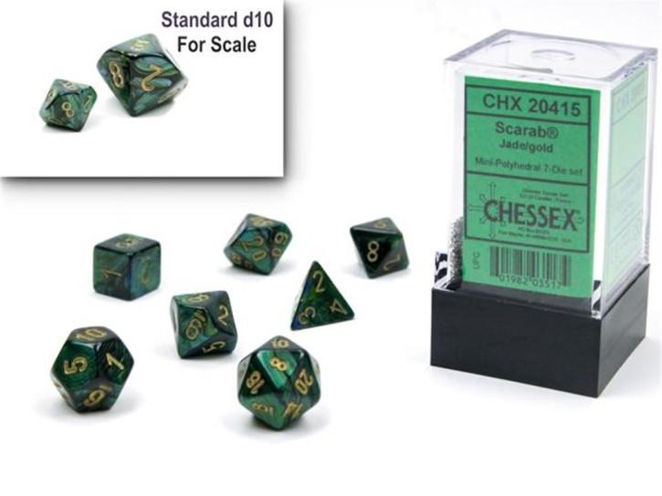 CHESSEX: Scarab Mini Jade/Gold 7-Die RPG Set