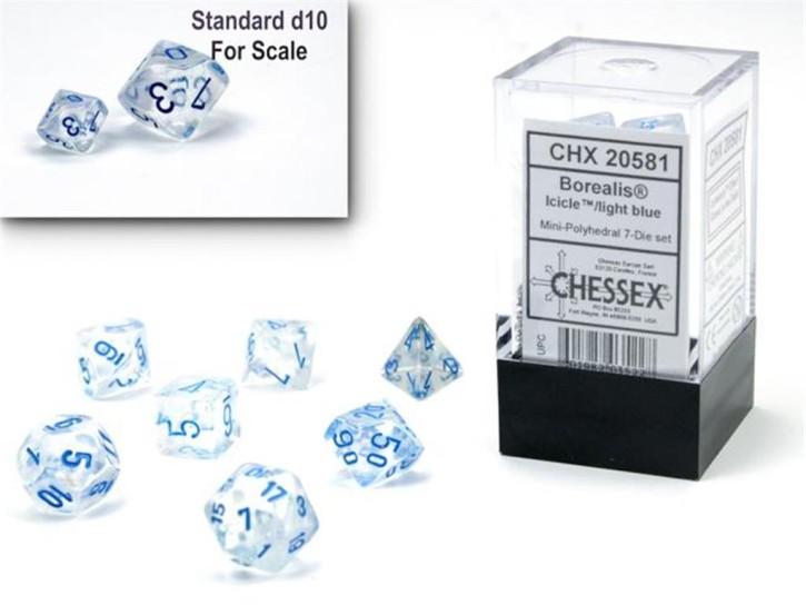 CHESSEX: Borealis Mini Icicle/Light Blue 7-Die RPG Set