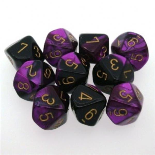 CHESSEX: Gemini Schwarz-Violett/Gold 10 x 10 seitige.