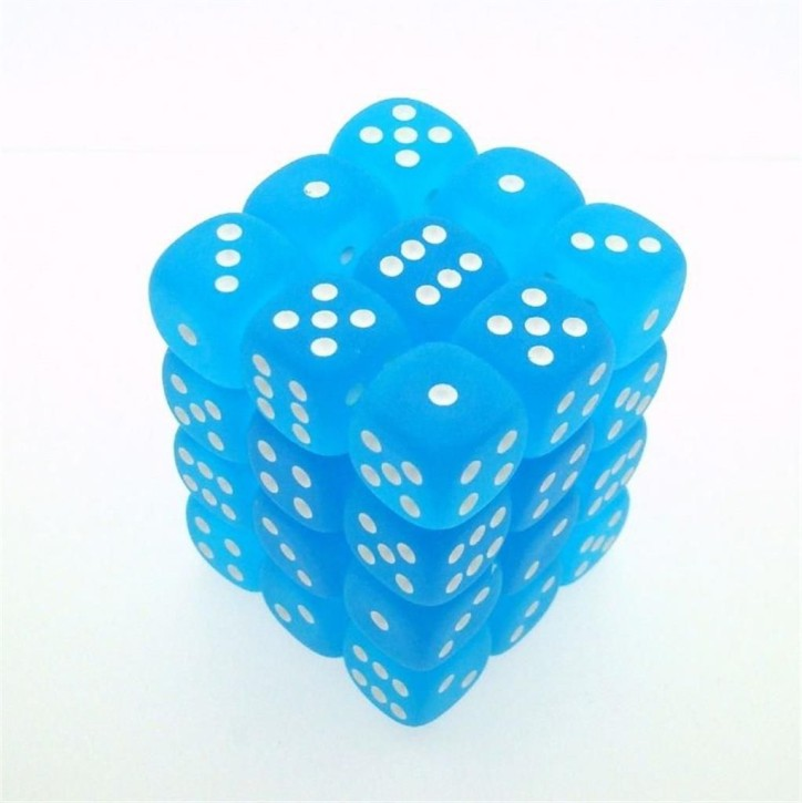 CHESSEX: Frosted Caribbean Blue/White 36 x 6 sided Diceset