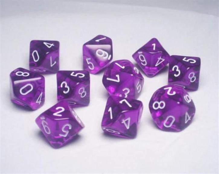 CHESSEX: Translucent Purple/White 10 x 10 sided Diceset