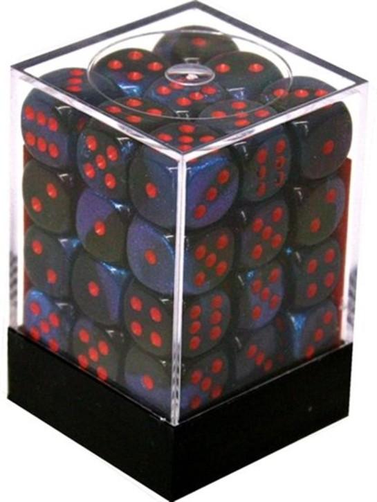 CHESSEX: Gemini Black-Starlight/Red 36 x 6 sided Diceset