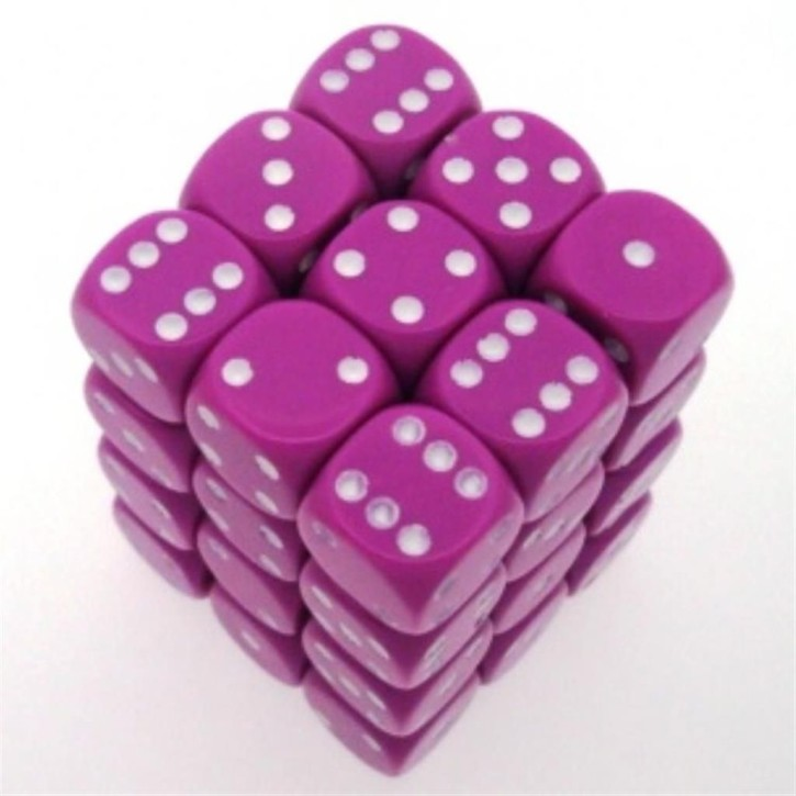 CHESSEX: Opaque Light Purple/White 36 x 6 sided Diceset