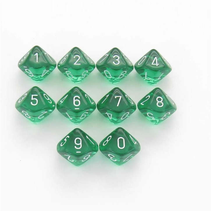 CHESSEX: Translucent Green/White 10 x 10 sided Diceset