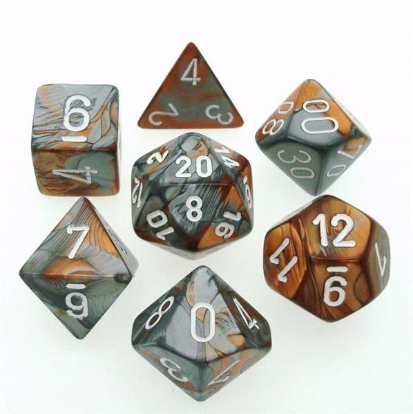 CHESSEX: Gemini Kupfer-Stahlgrau/Weiß 7-Würfel RPG Set