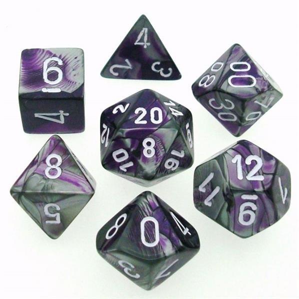 CHESSEX: Gemini Purpur-Stahlgrau/Weiß 7-Würfel RPG Set