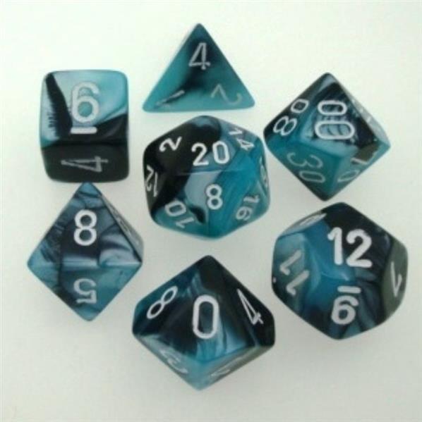 CHESSEX: Gemini Black-Shell/White 7-Die RPG Set