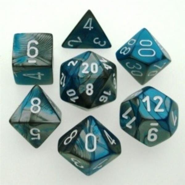 CHESSEX: Gemini Stahlgrau-Türkis/Weiß 7-Würfel RPG Set