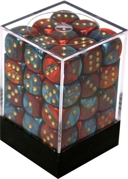 CHESSEX: Gemini Red-Teal with gold 36 x 6 sided Diceset
