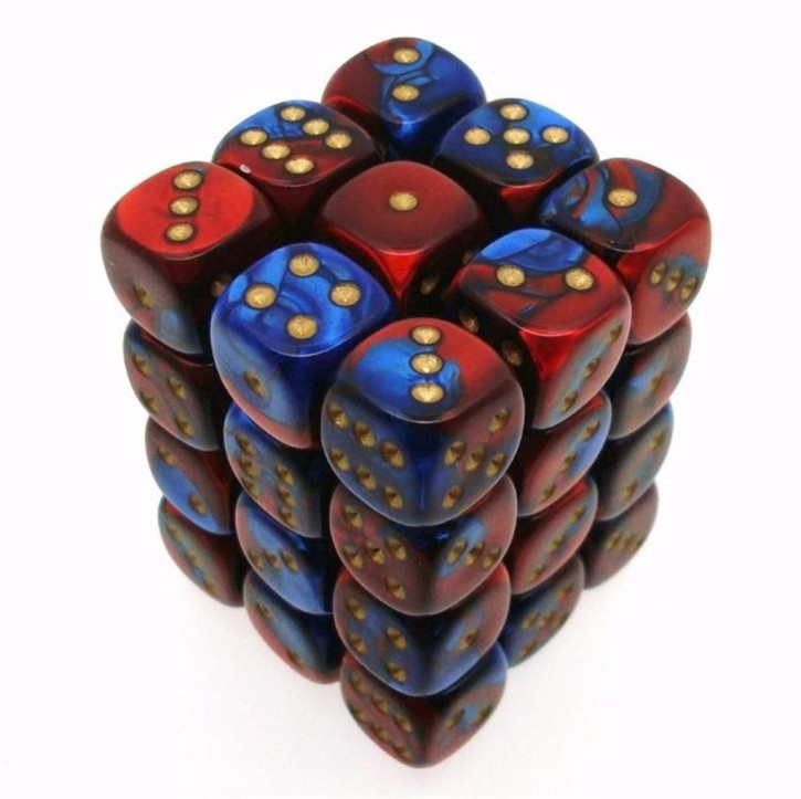 CHESSEX: Gemini Blue-Red/Gold 36 x 6 sided Diceset