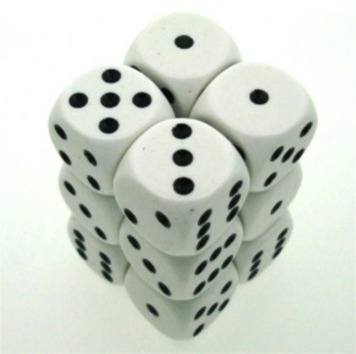 CHESSEX: Opaque White/Black 12 x 6 sided Diceset