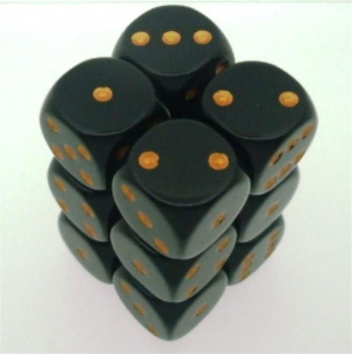 CHESSEX: Opaque Schwarz/Gold 12 x 6 seitige Würfel