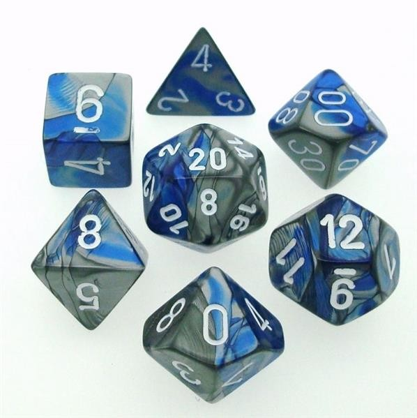 CHESSEX: Gemini Blau-Stahlgrau/Weiß 7-Würfel RPG Set