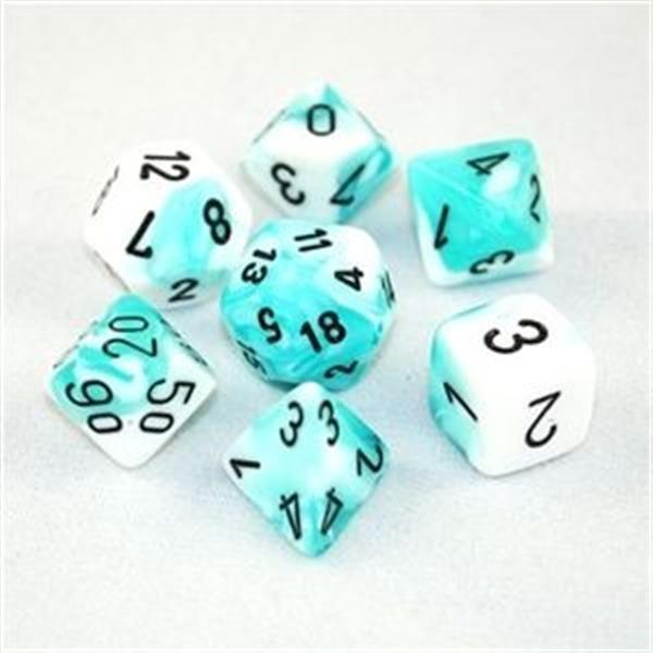 CHESSEX: Gemini Weiß-Türkis/Schwarz 7-Würfel RPG Set