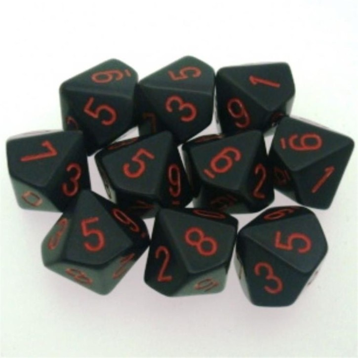CHESSEX: Opaque Schwarz/Rot 10 x 10 seitige Würfel