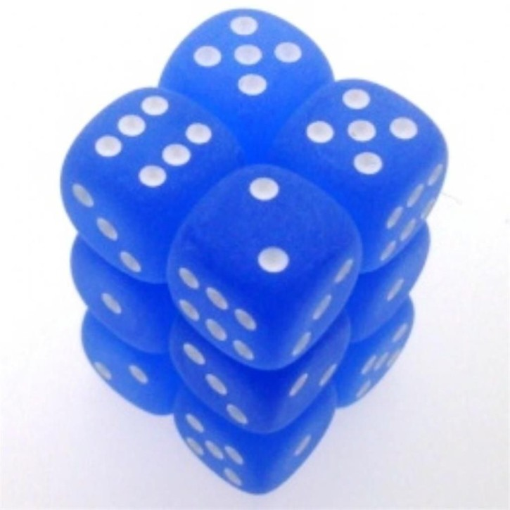 CHESSEX: Frosted Blue/White 12 x 6 sided Diceset