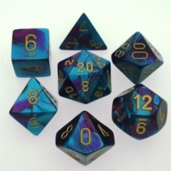 CHESSEX: Gemini Purple-Teal/Gold 7-Die RPG Set