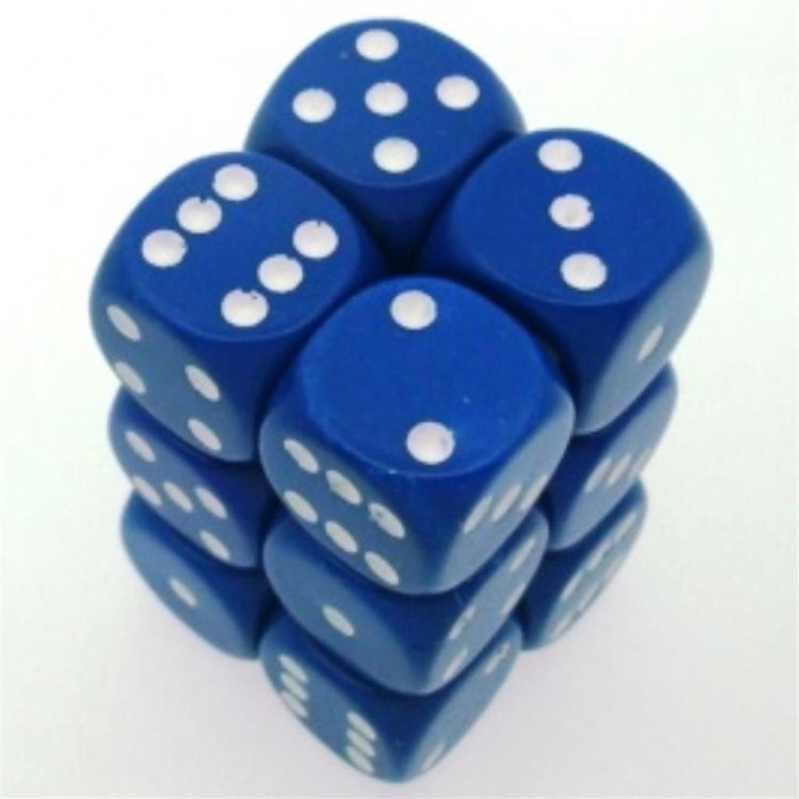 CHESSEX: Opaque Blue/White 12 x 6 sided Diceset