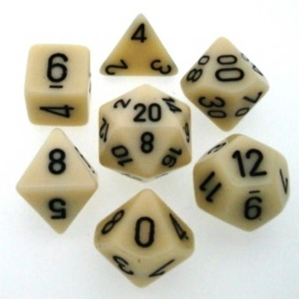 CHESSEX: Opaque Elfenbein/Schwarz 7-Würfel RPG Set