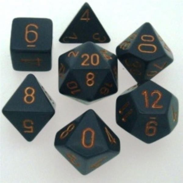 CHESSEX: Opaque Dark Grey/Copper 7-Die RPG Set