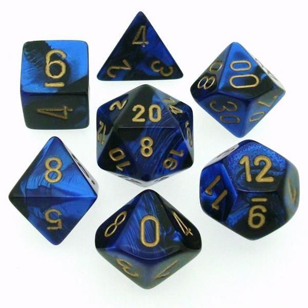 CHESSEX: Gemini Schwarz-Blau/Gold 7-Würfel RPG Set
