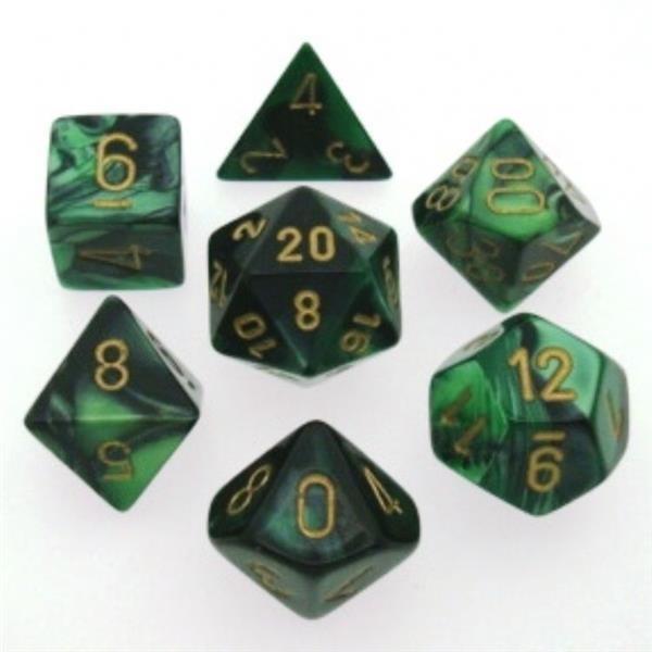 CHESSEX: Gemini Schwarz-Grün/Gold 7-Würfel RPG Set