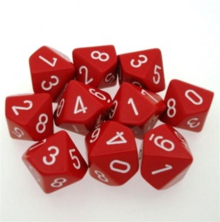 CHESSEX: Opaque Red/White 10 x 10 sided Diceset
