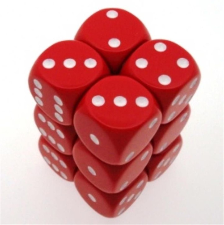 CHESSEX: Opaque Red/White 12 x 6 sided Diceset