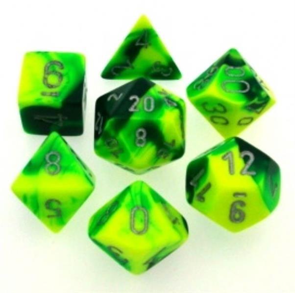 CHESSEX: Gemini Green-Yellow/Silver 7-Die RPG Set