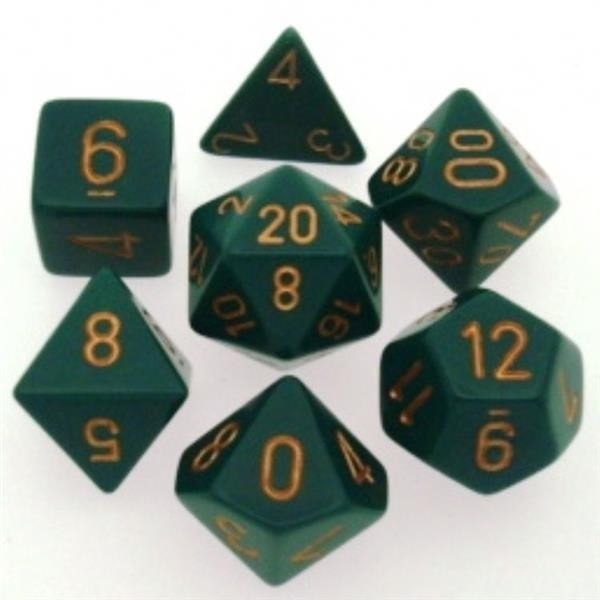 CHESSEX: Opaque Dunkelgrün/Gold 7-Würfel RPG Set