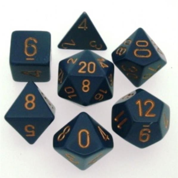 CHESSEX: Opaque Dunkelblau/Gold 7-Würfel RPG Set