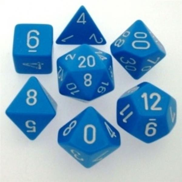 CHESSEX: Opaque Light Blue/White 7-Die RPG Set