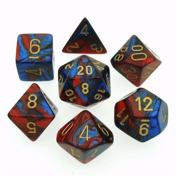 CHESSEX: Gemini Blau-Rot/Gold 7-Würfel RPG Set