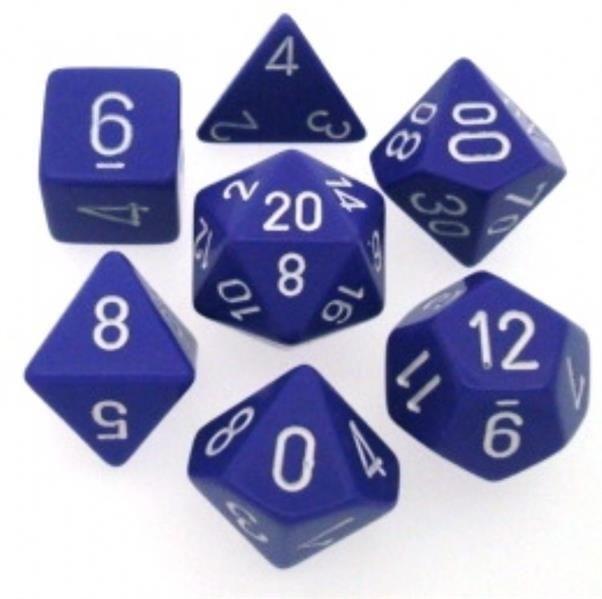 CHESSEX: Opaque Purpur/Weiß 7-Würfel RPG Set