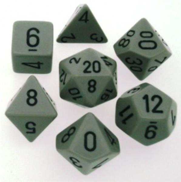 CHESSEX: Opaque Grau/Schwarz 7-Würfel RPG Set