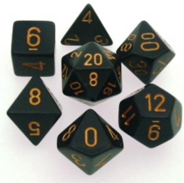 CHESSEX: Opaque Schwarz/Gold 7-Würfel RPG Set