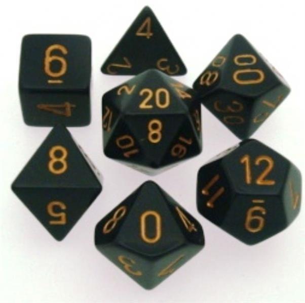 CHESSEX: Opaque Black/Gold 7-Die RPG Set