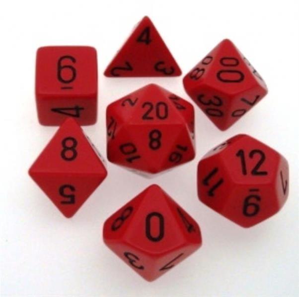 CHESSEX: Opaque Rot/Schwarz 7-Würfel RPG Set