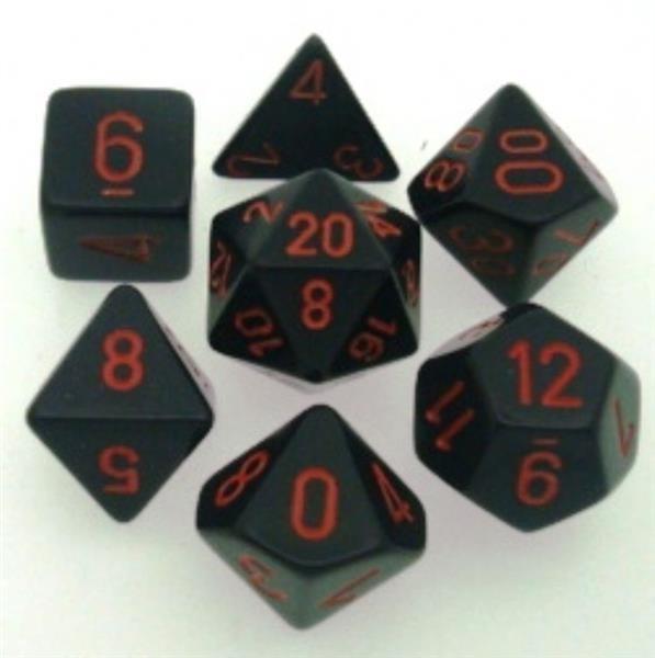 CHESSEX: Opaque Black/Red 7-Die RPG Set