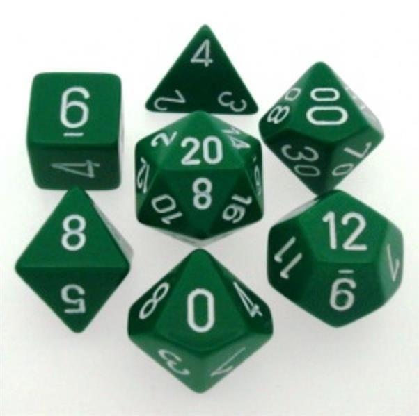 CHESSEX: Opaque Green/White 7-Die RPG Set