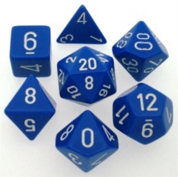 CHESSEX: Opaque Blau/Weiß 7-Würfel RPG Set