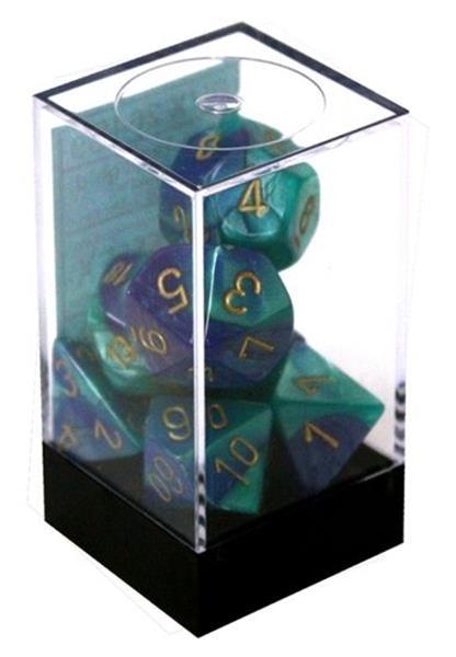 CHESSEX: Gemini Blau-Türkis/Gold 7-Würfel RPG Set