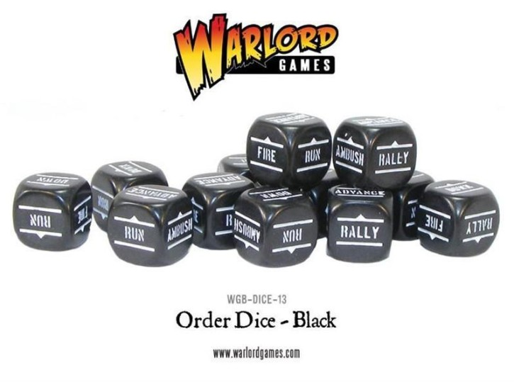 BOLT ACTION: Orders Dice - Black (12)