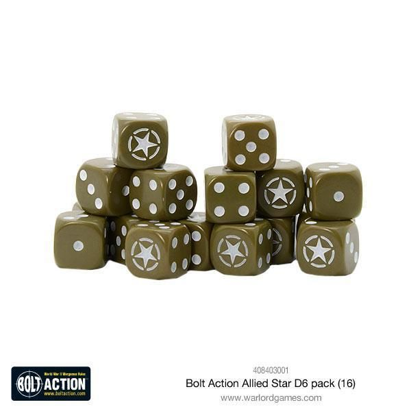 BOLT ACTION: Allied Star D6 Dice (16)