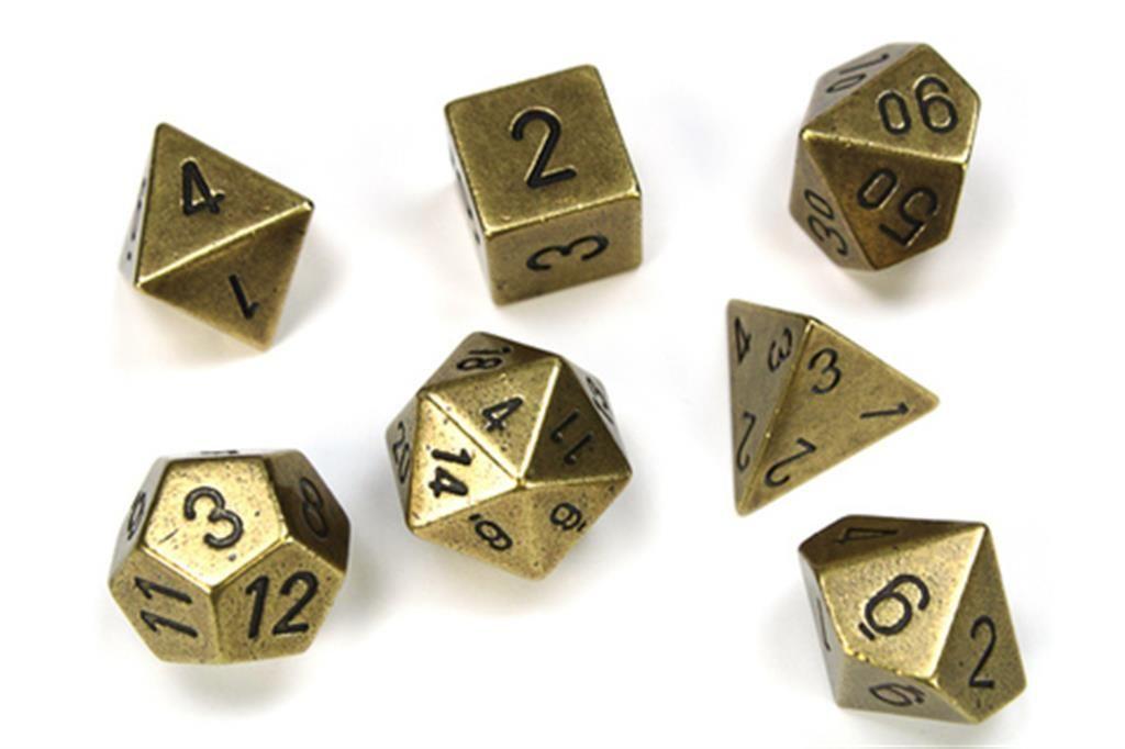 CHESSEX: Solid Metal Old Brass 7-Die RPG Set