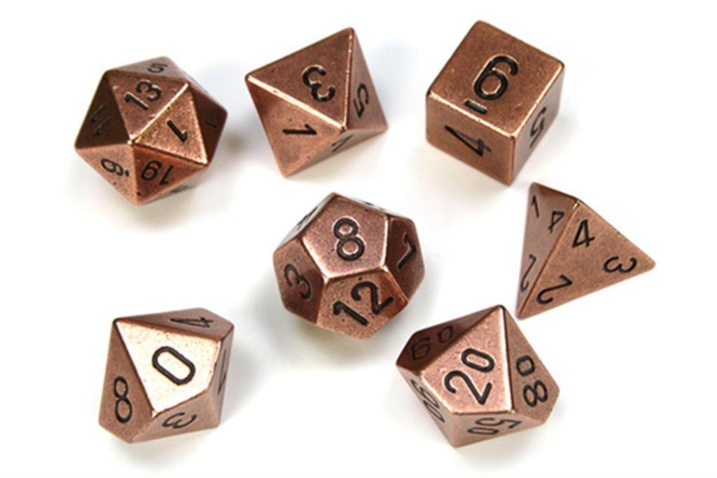 CHESSEX: Solid Metal Copper 7-Die RPG Set