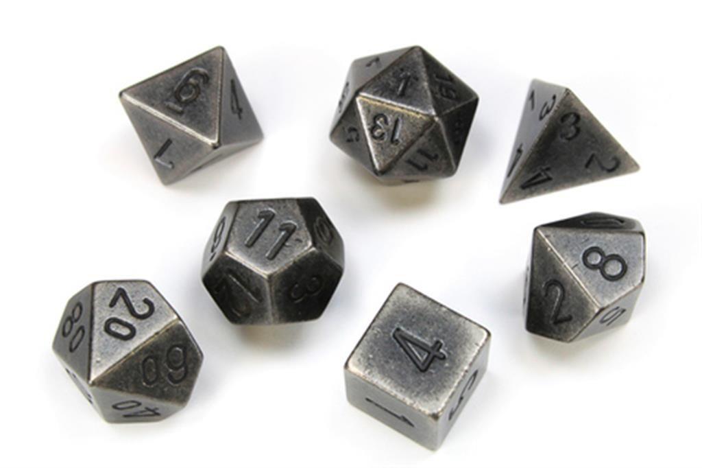 CHESSEX: Solid Metal Dark Silver 7-Die RPG Set