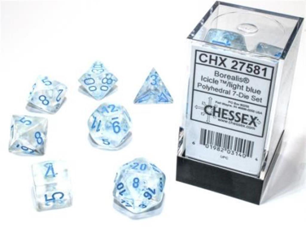 CHESSEX: Borealis Icicle/Light Blue 7-Die RPG Set