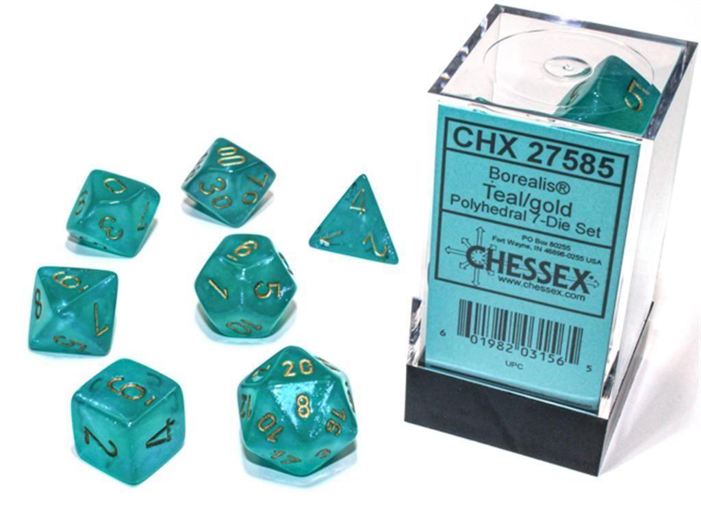 CHESSEX: Borealis Teal/Gold 7-Die RPG Set