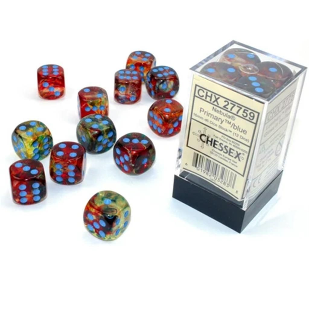 CHESSEX: Nebula Primary/Blue 12 x 6 sided Diceset
